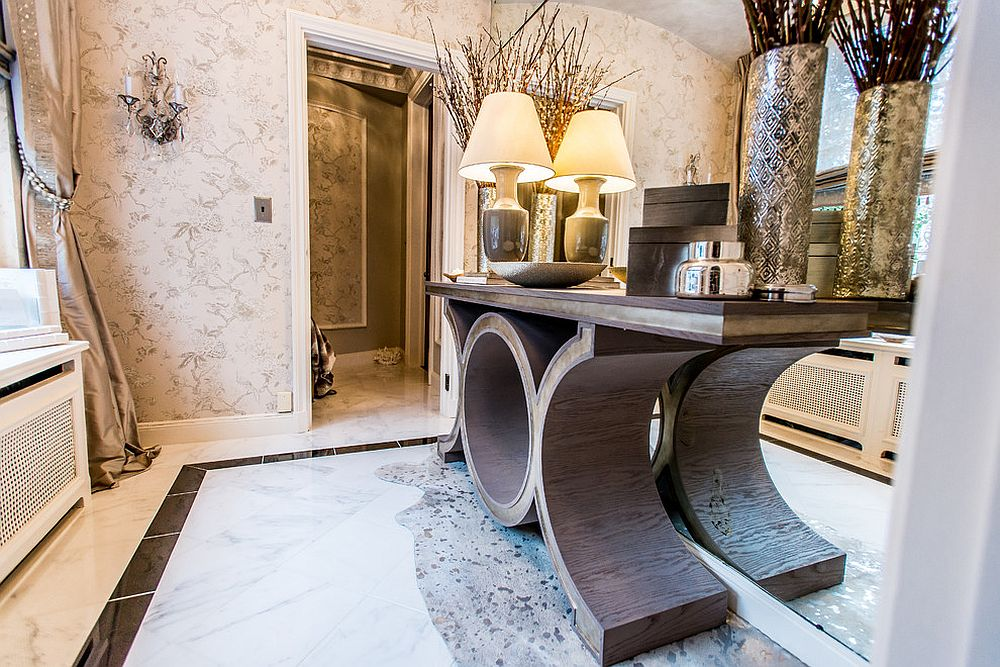 Unique vanity and dramatic accessories for the spacious powder room [Design: Ashbourne Designs]