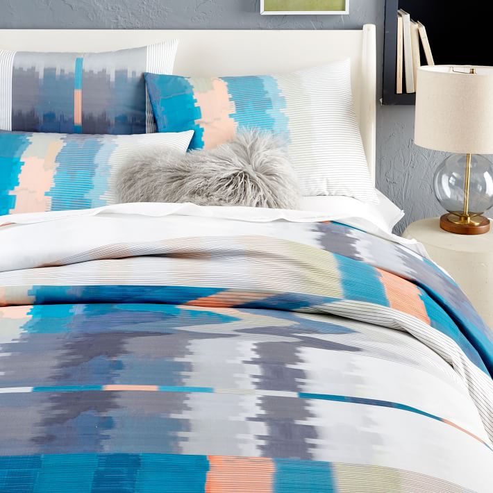 Vibrant abstract bedding from West Elm
