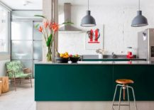 Vivacious kitchen with a wide array of textures and bold splash of color