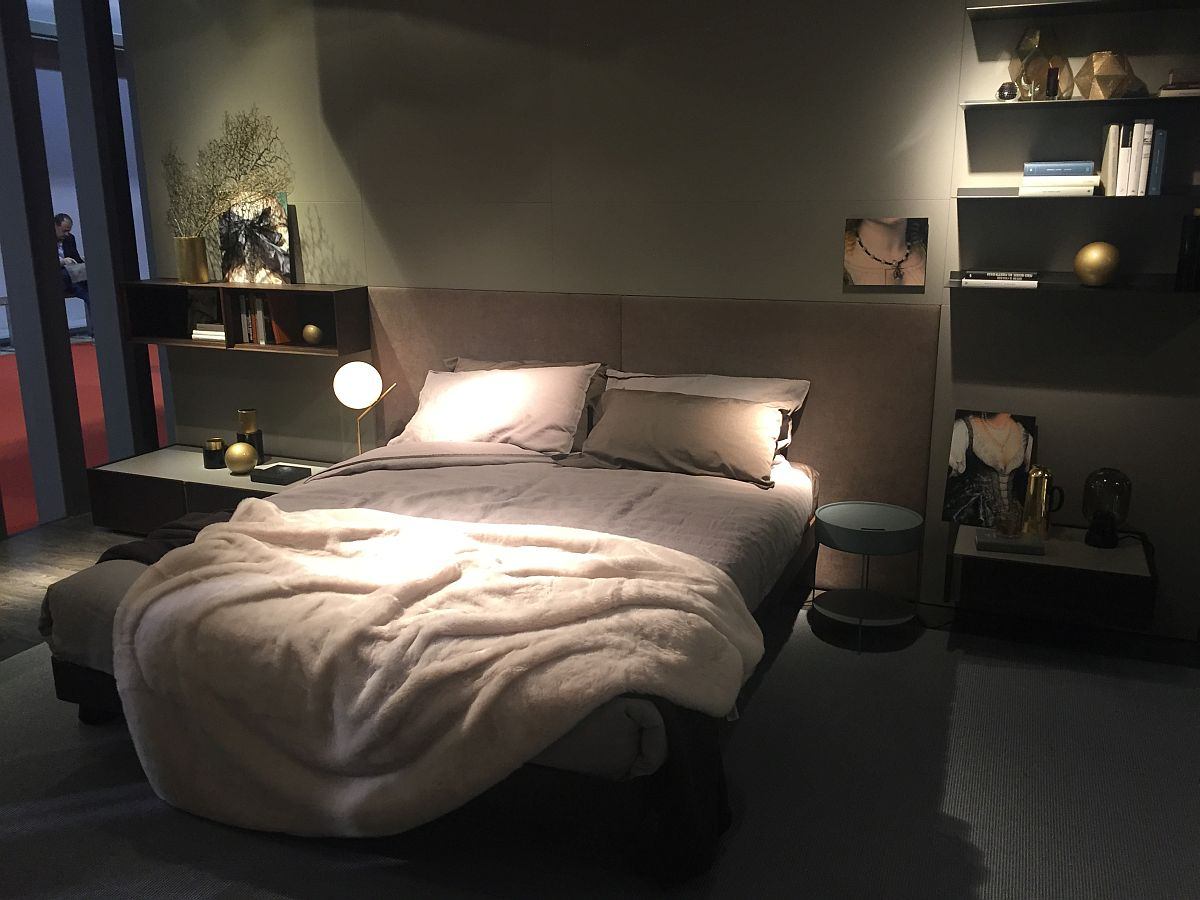 Wall-mouned bedside units make most of the vertical space on offer