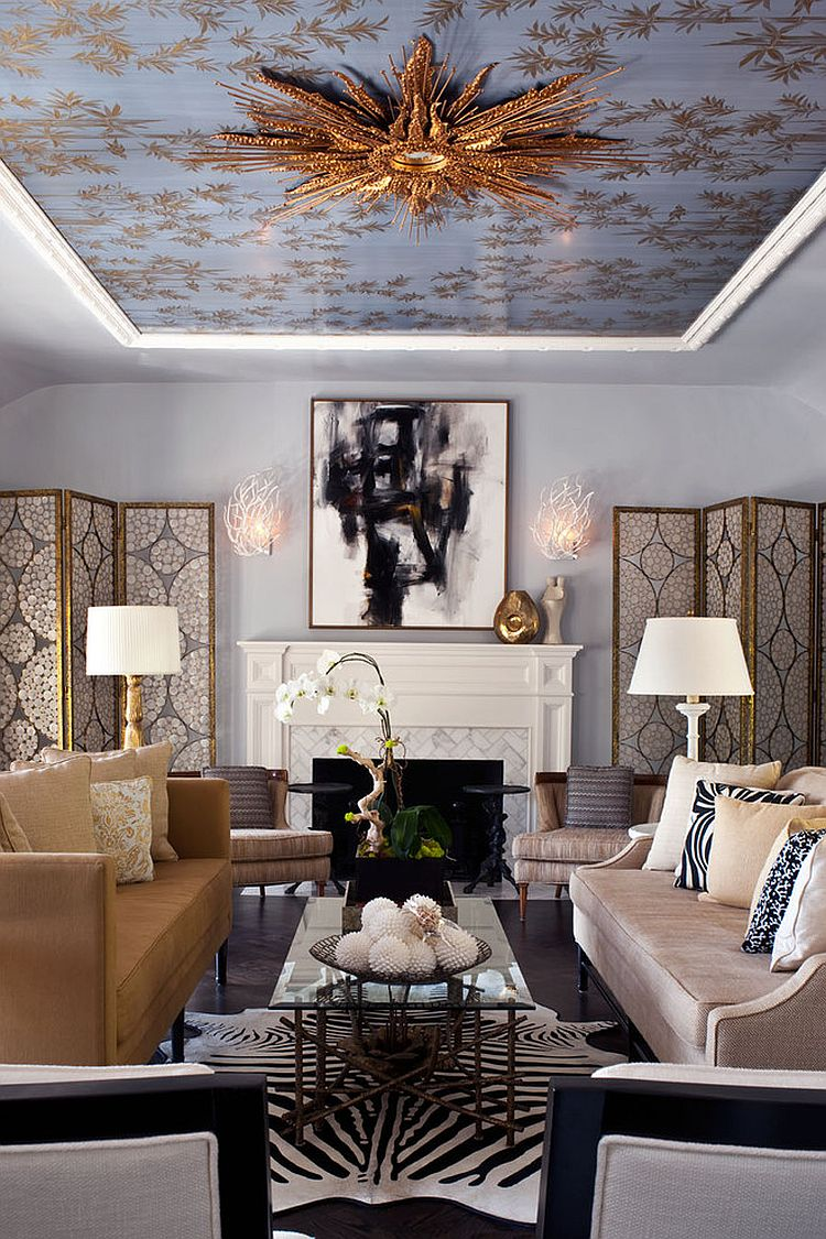 Wallpaper and mirror on the ceiling complete a stunning living room [Design: Elizabeth Gordon]