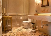 Warm and cozy powder room with a hint of golden glint!