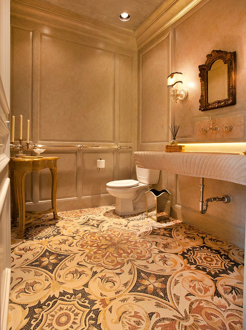 Warm and cozy powder room with a hint of golden glint! [Design: Craig Tuttle Construction]