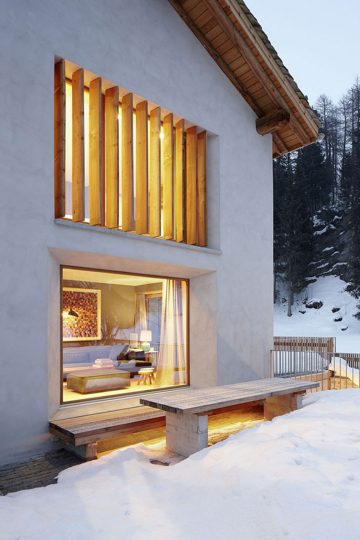 Wonderful use of window to bring in natural light and to offer lovely views of the snow-covered slopes outside