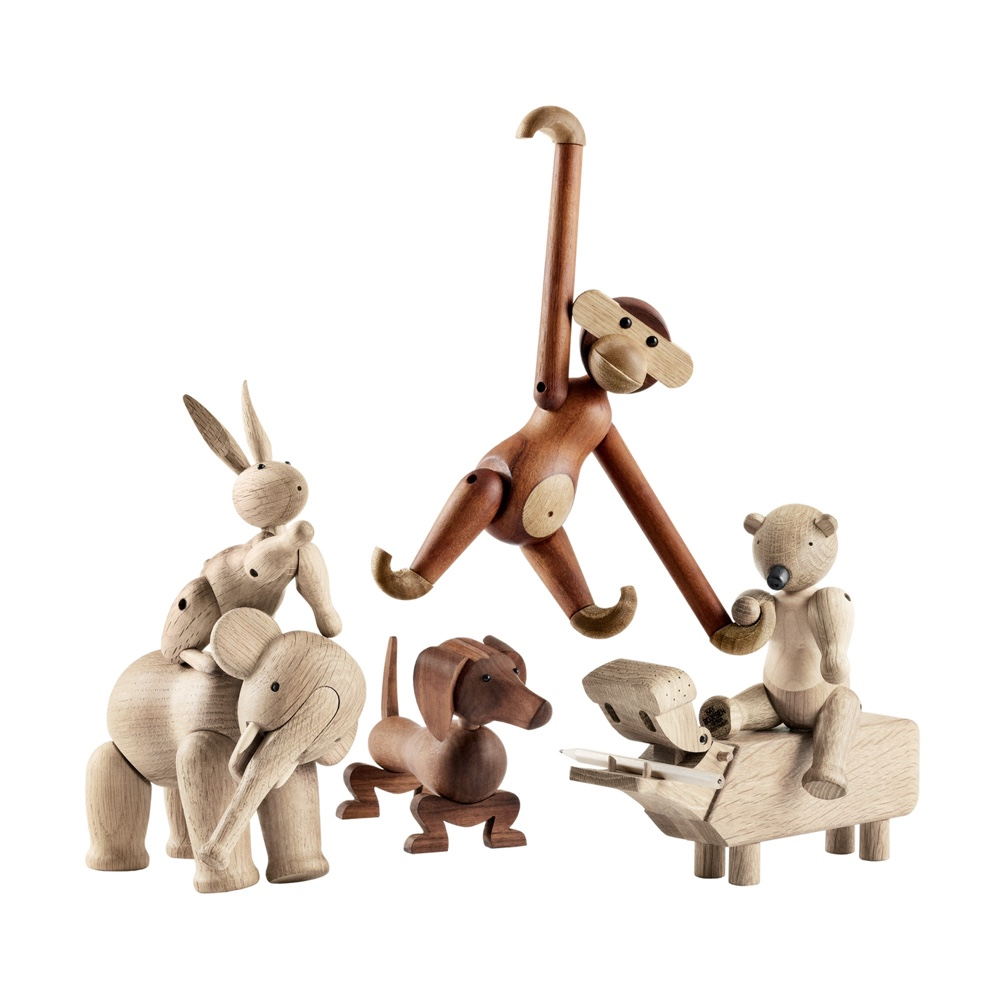 Wooden animals (left to right): The Rabbit (1957), the Elephant (1953), the Dachshund (1934), the Monkey (1951), the Hippo (1955) and the Bear (1952).