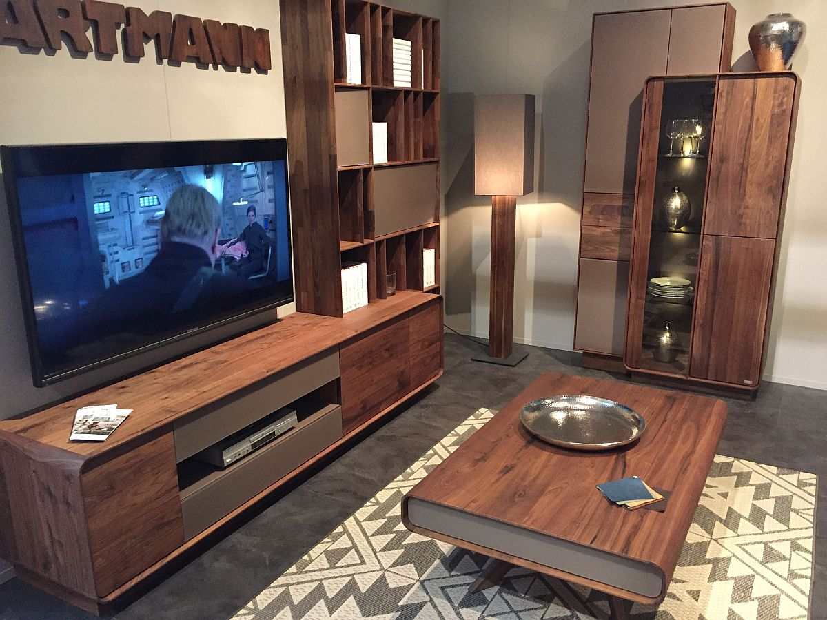 Wooden finishes steal the show when it comes to entertainment units and living room furniture from Hartmann