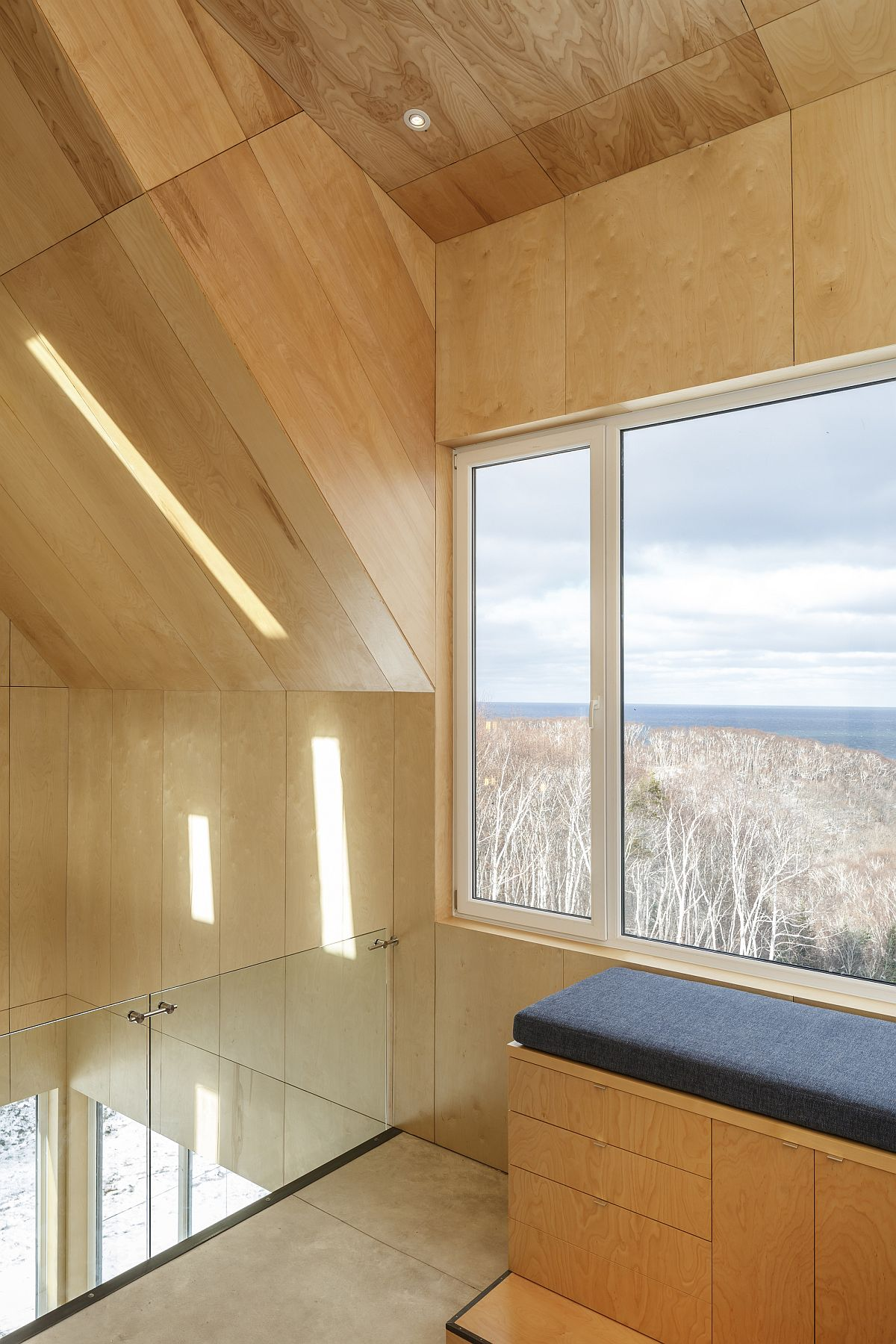 Wooden interior acts as a support that helps that cabin withstand strong winds
