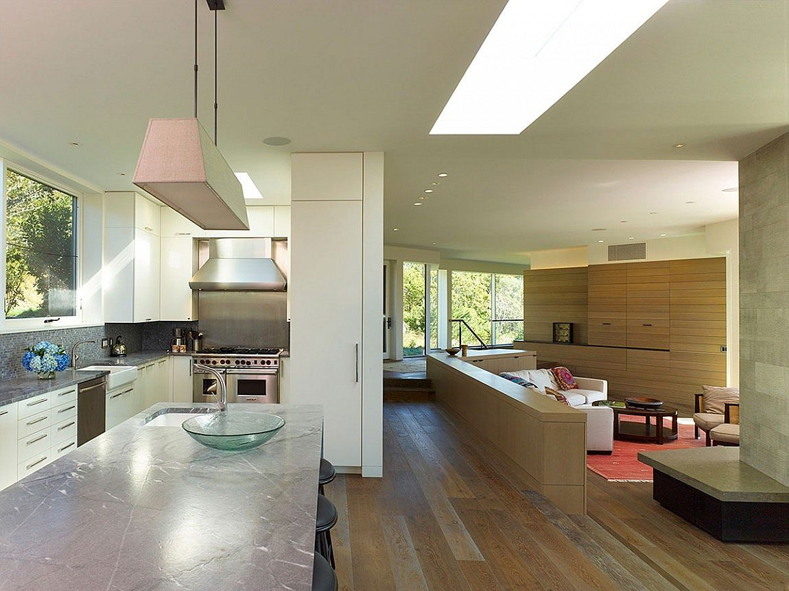 Wooden surfaces add warmth and elegance to the contemporary interior