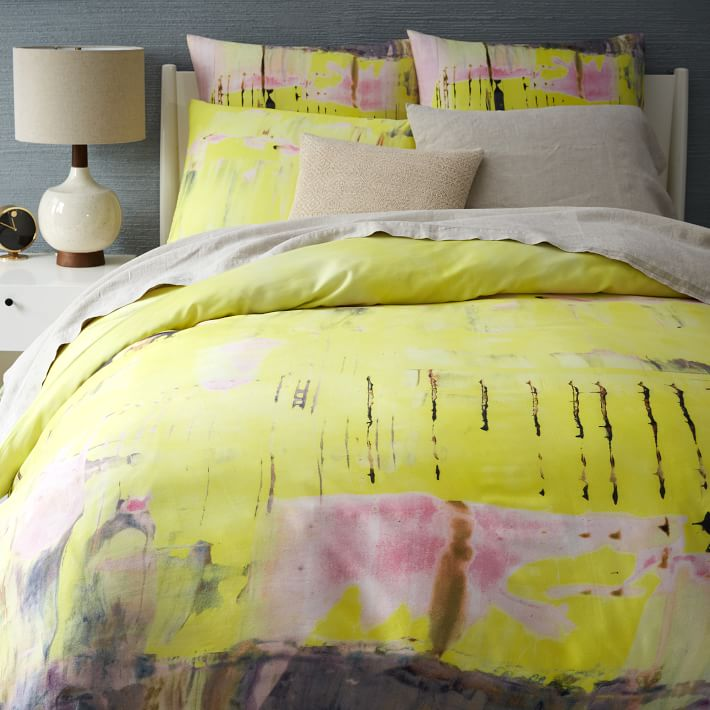 Yellow organic bedding from West Elm