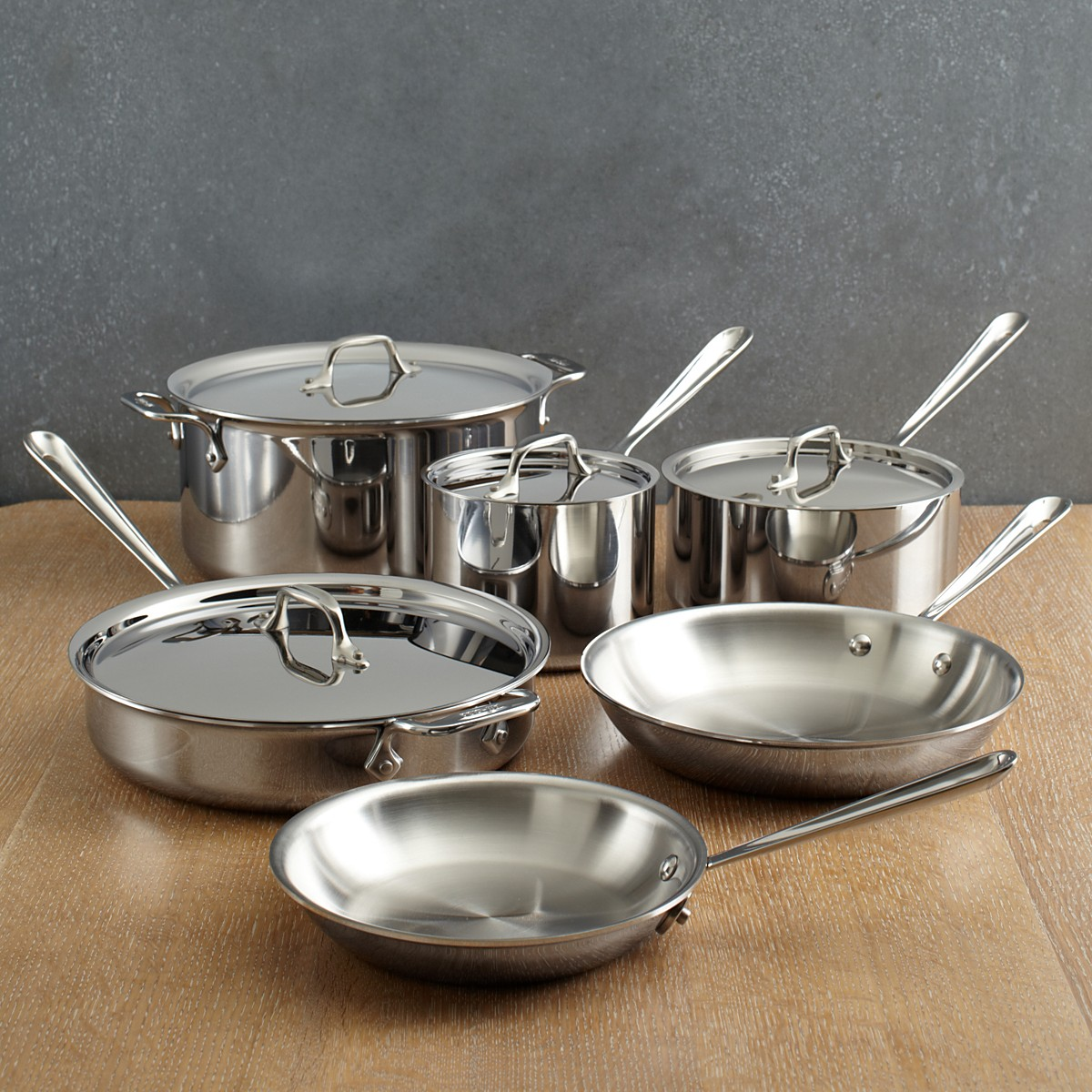 view in gallery 10piece allclad stainless steel cookware set
