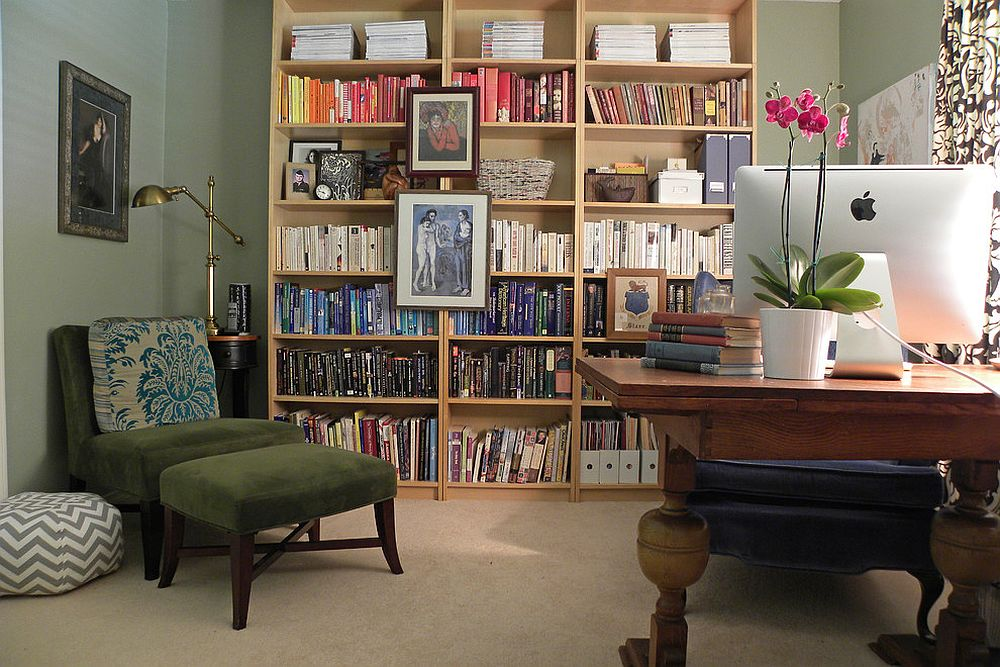 A bookshelf, luxurious lounger and lighting source are all you need to create a reading corner [From: Sarah Greenman]