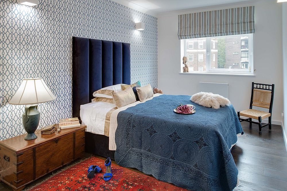 Accent wall in bedroom draped in Morocco Indigo Neo by Prestigious [Design: Laroya & Co]