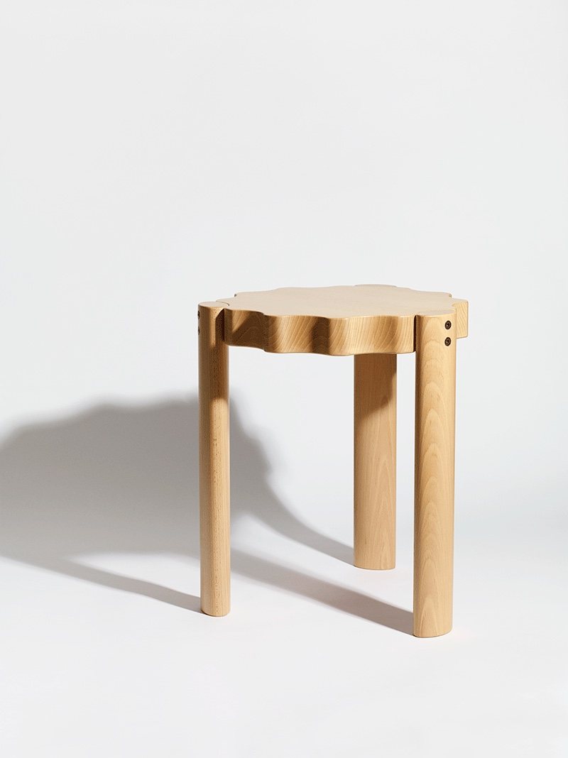 The Ace Stool in solid birch for Ace Hotel. Image courtesy of Philippe Malouin.