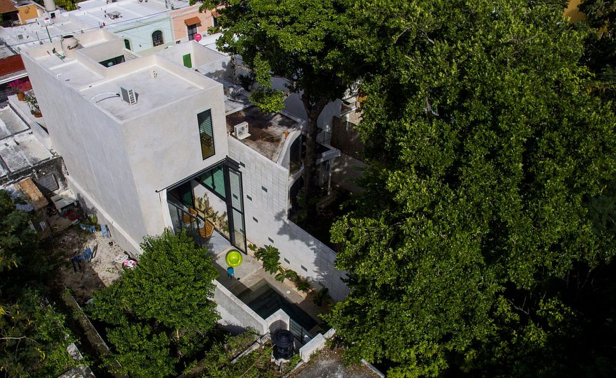 Aerial view of Casa Desnuda in Merida, Mexico