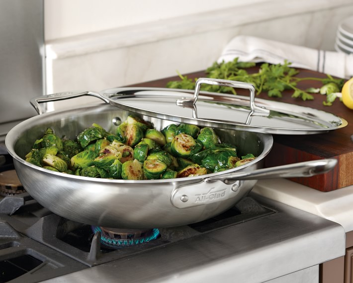 All-Clad brushed stainless steel fry pan