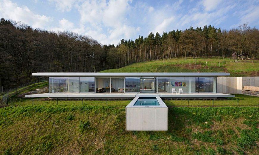 Pool That Seems to Float Above a Hill: Zero-Energy, Minimalist Villa K