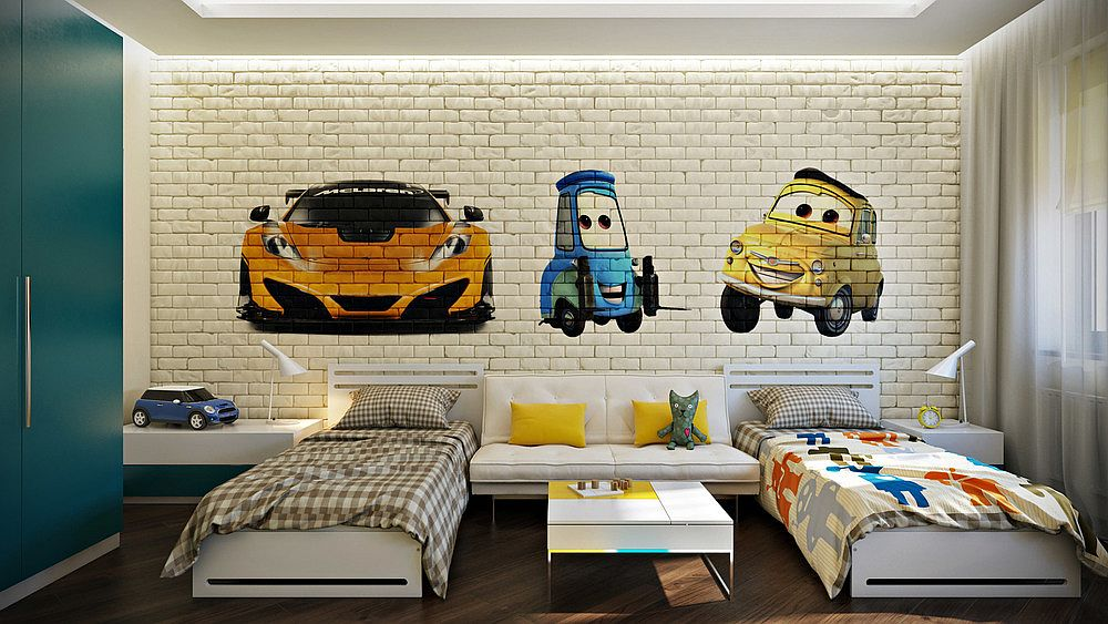 25 vivacious kids rooms with brick walls full of personality for Room interior design for boys