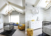 Amazing nursery in gray with gold and yellow accents
