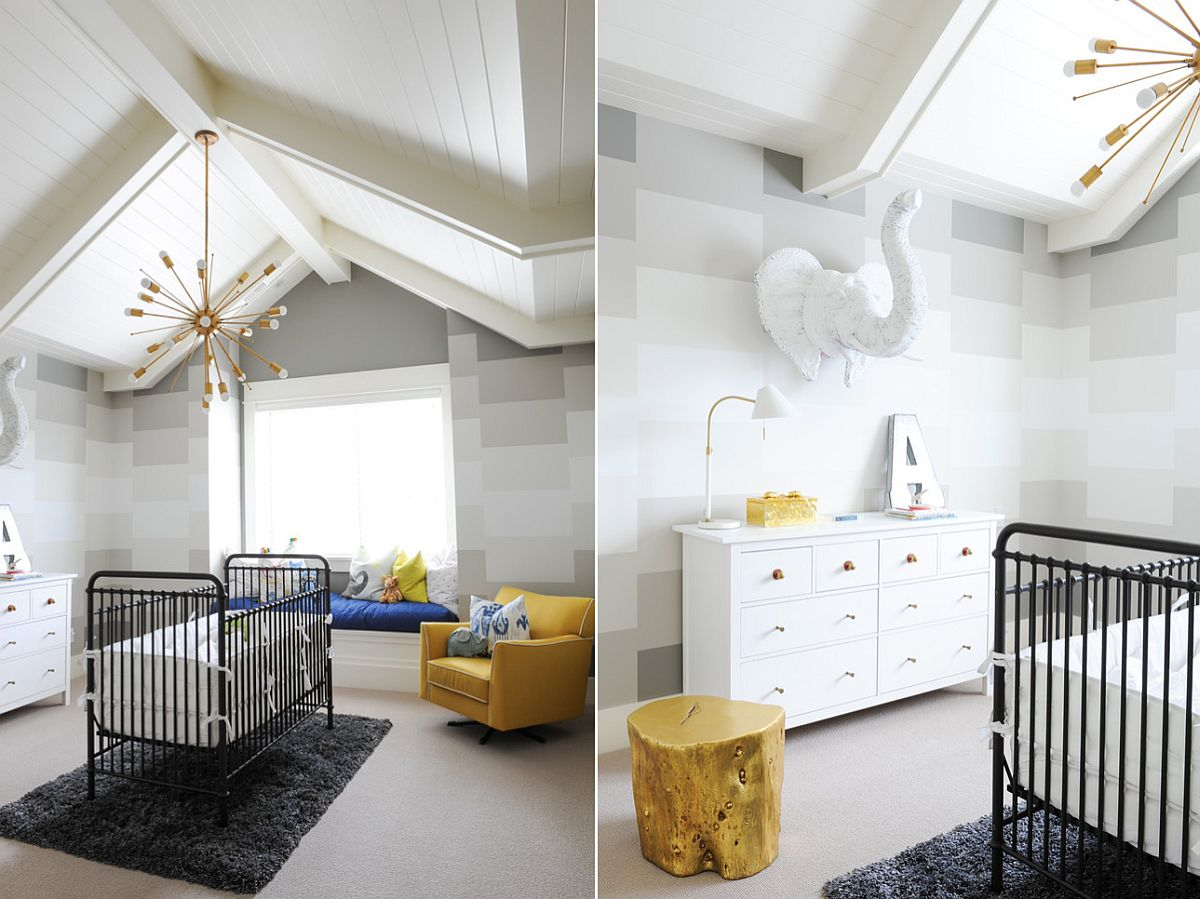 Amazing nursery in gray with gold and yellow accents [From: Fox Design Studio]
