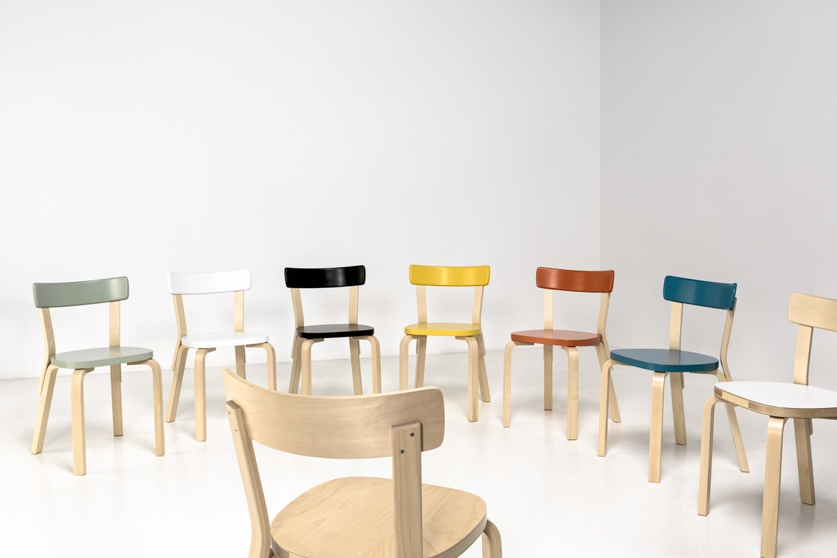 Artek 69 chairs (Paimio edition), birch and lacquered, designed in 1935. Photo byTuomas Uusheimo.