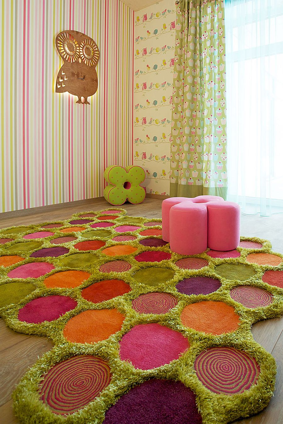 Asymmetrical Grand MX Rug is a fun and practical addition to the kids' room [Design: Dalius & Greta Design]
