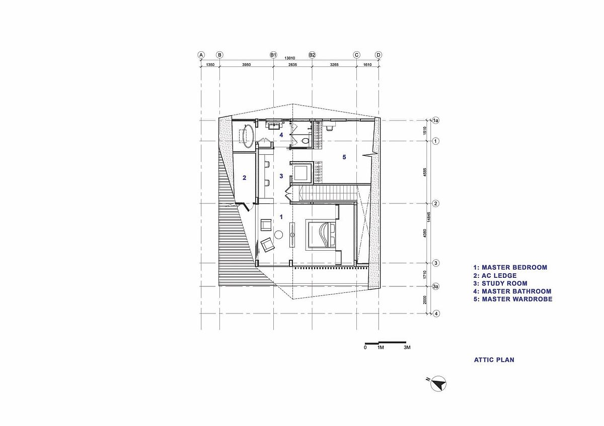 Attic level floor plan of modern Singapore home with master suite