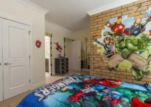 Avengers-themed-kids-room-with-a-cool-faux-brick-wall-217x155