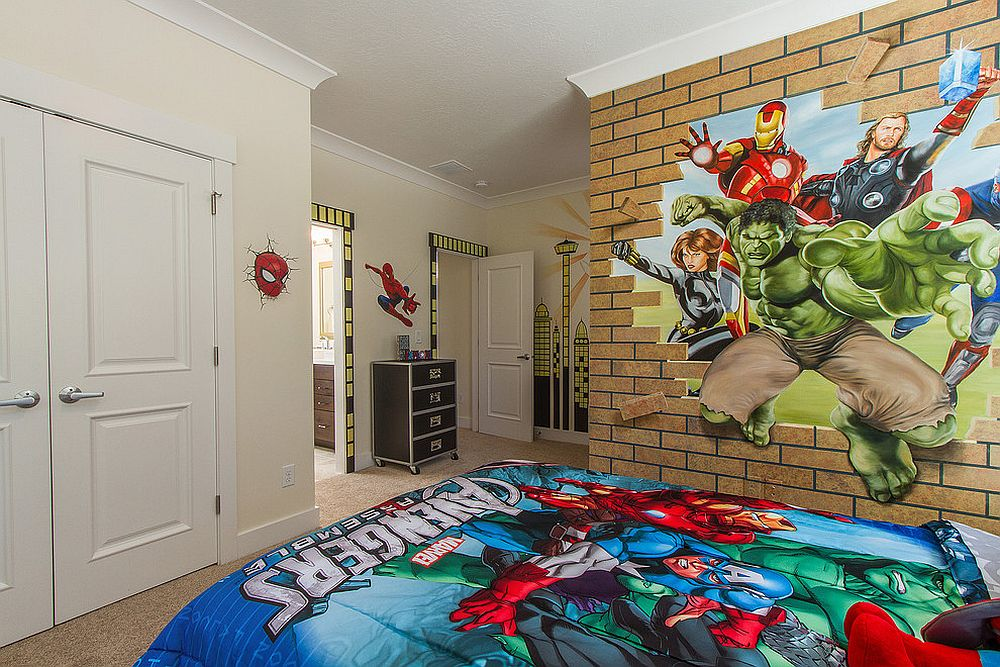 Avengers themed kids' room with a cool faux brick wall [Design: Walker Home Design]
