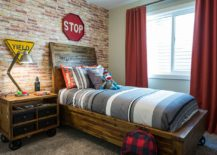 Awesome industrial kids room with bed and nightstand on wheels 217x155 25 Vivacious Kids' Rooms with Brick Walls Full of Personality