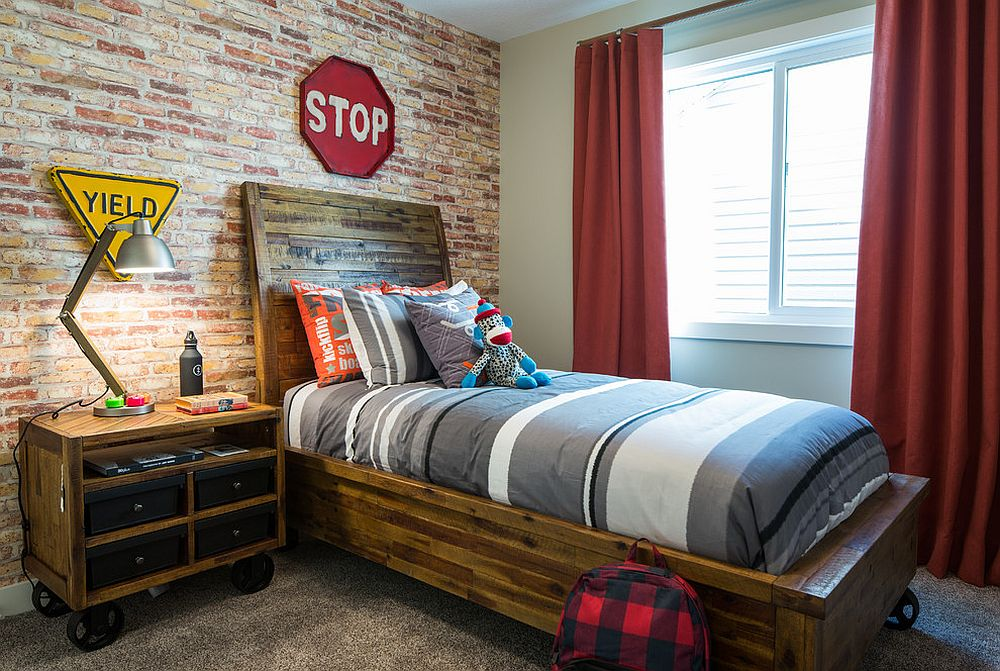 Awesome industrial kids' room with bed and nightstand on wheels [Design: Rochelle Cote Interior Design]