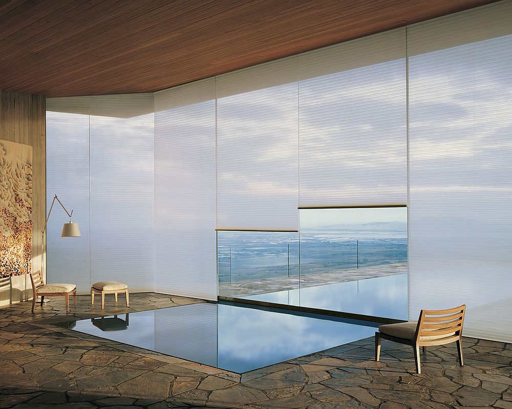 Awesome meditation and reflection room with Hunter Douglas® Duette® Honeycomb Shades [Design: Decorview]