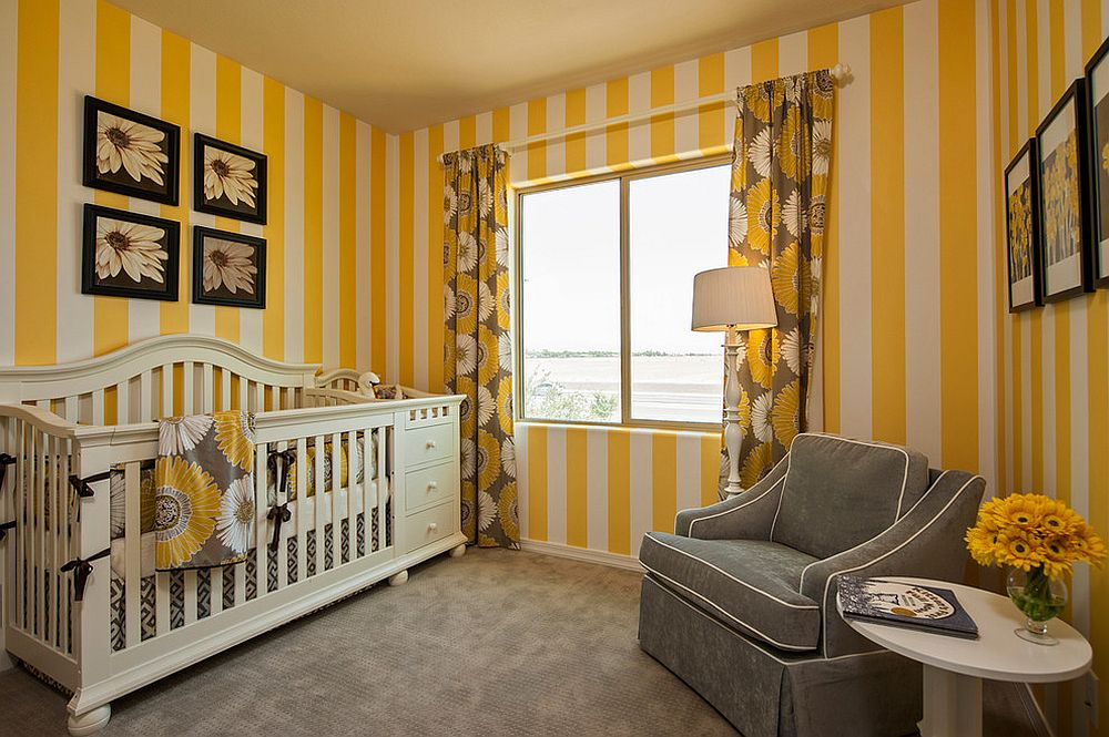 Balance a nursery dominated by yellow with gray [Design: Meritage Homes]