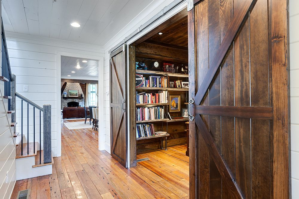 Barn doors make it easier to find space for the home office! [Design: Blake Shaw Homes]