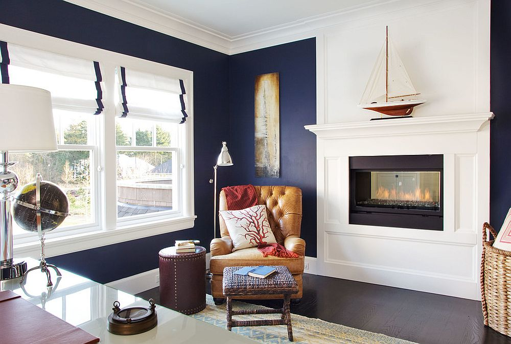 View In Gallery Beach Style Home Office With Corner Reading Nook Next To  The Fireplace [Design: Garrison