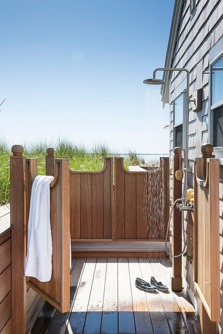Beach style outdoor shower captures the spirit of summer perfectly