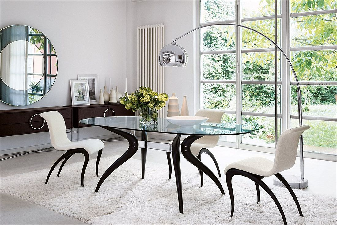 dashing duo  trendy new dining tables usher in geometric contrast