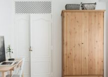 Bedroom workspace and wooden wardrobe