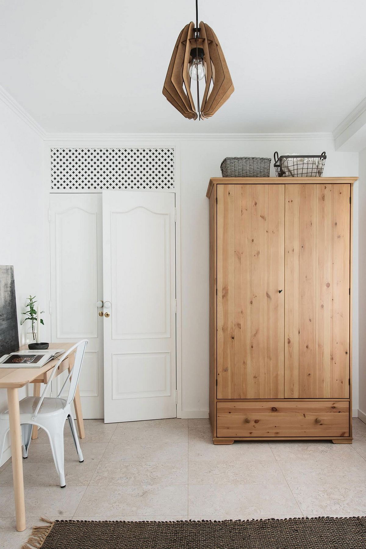 Bedroom workspace and wooden wardrobe