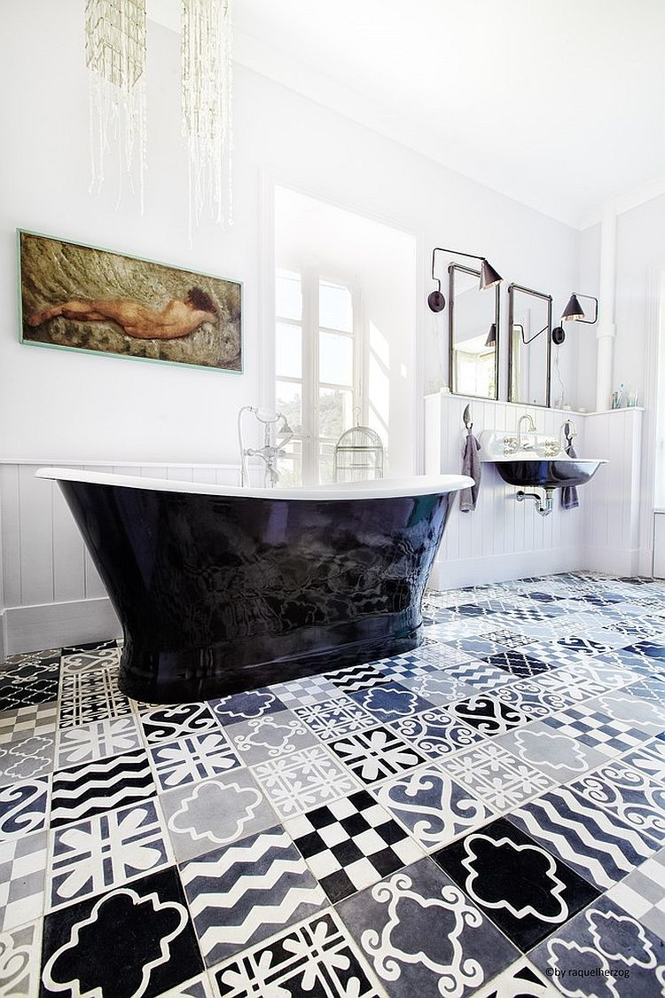Black and white bathroom with a patchwork of patterned tiles [Design: carocim]