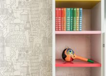 Books and accessories add color to the neutral interior