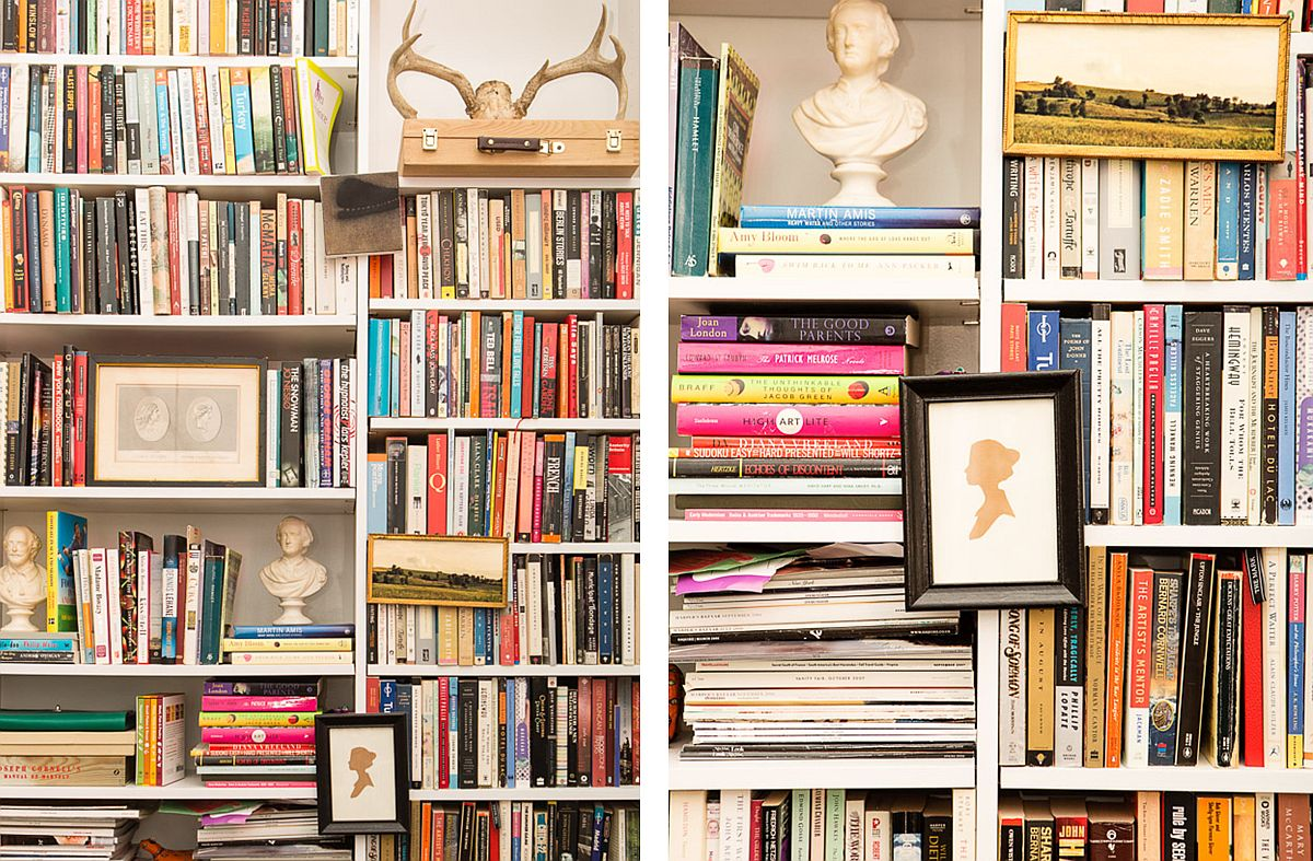 Bookshelf wall becomes the instant focal point of the living space