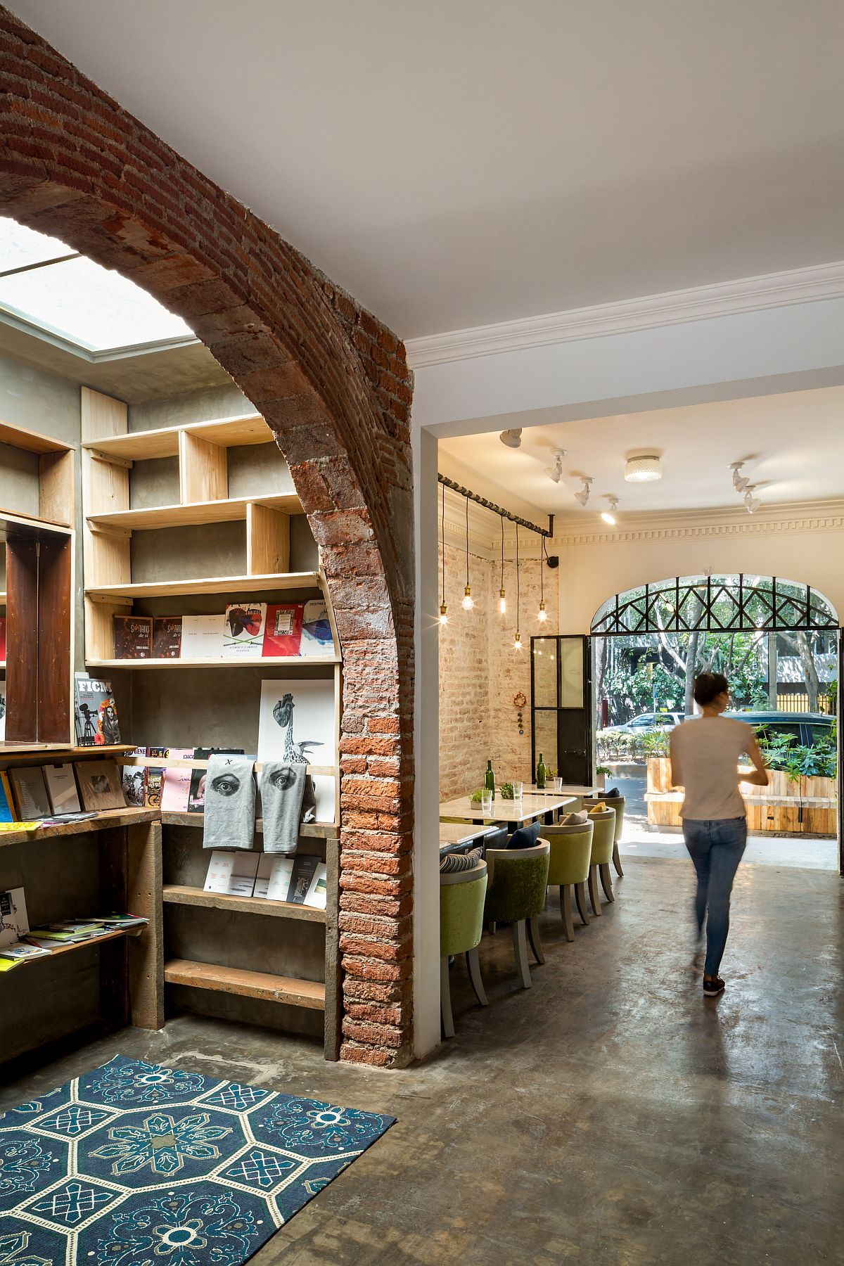 Bookstore inside the unique restaurant in Mexico City