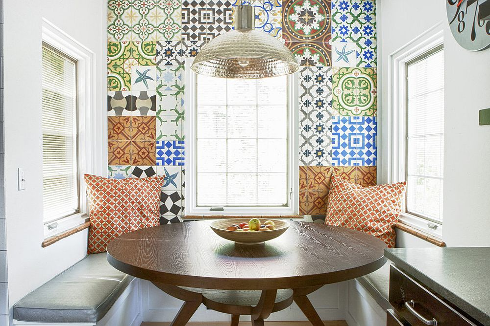 Breakfast nook with an inimitable backdrop made of patchwork tiles [From: Design Platform / Jody and Zach Zorn Photographers]