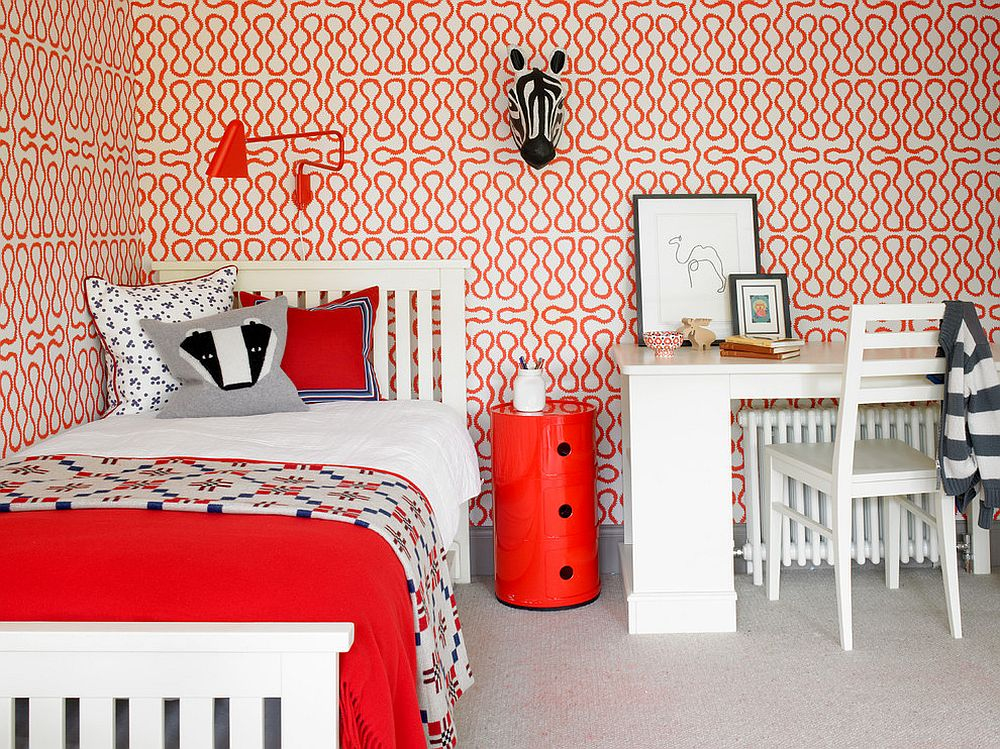 Bright and cheerful kids' bedroom with plenty of red [Design: Hannah Brown]