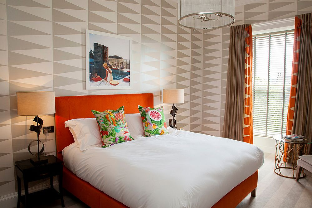 Bright orange coupled with bold geometric pattern inside for Bright bedroom wallpaper