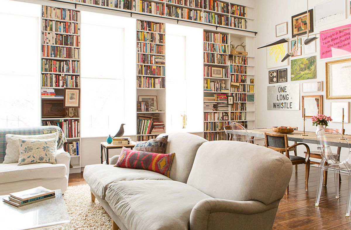 Brooklyn Heights Loft on the top two levels of old YMCA building Filled with the Romance of Art and Books: Brooklyn Heights Loft