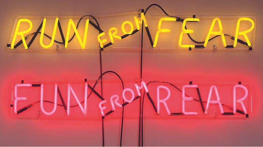 """Run from Fear, Fun from Rear"" (1972) by Bruce Nauman, an American artist and artist. Image ©Phaidon."