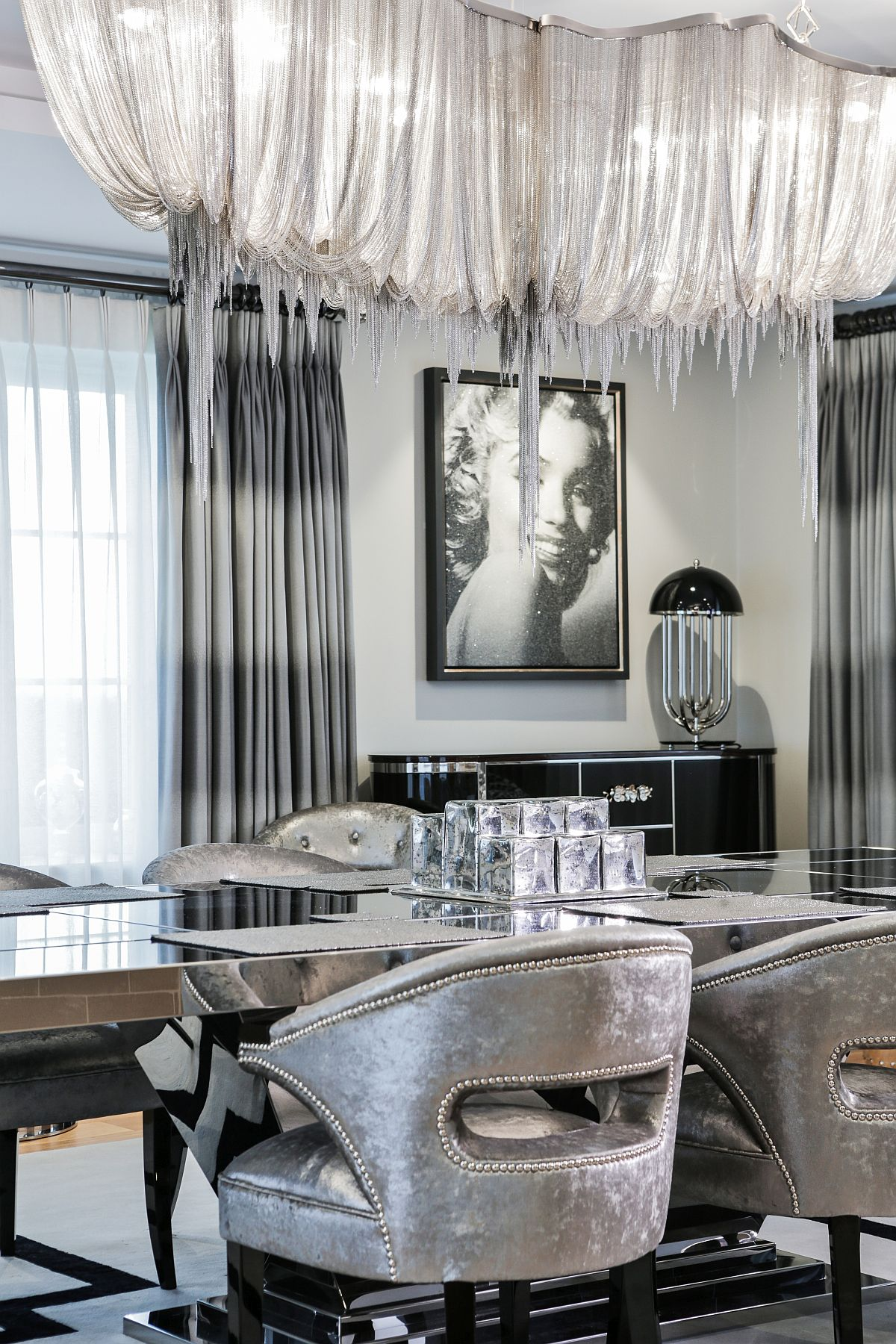 Captivating chandelier in the dining room is an absolute showstopper