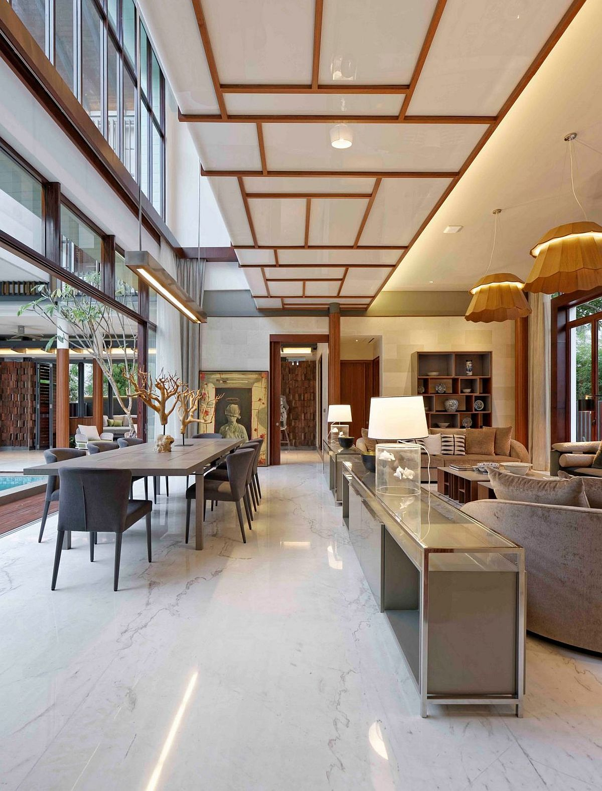 Ceiling panels add to the traditional style of the pavilion living space