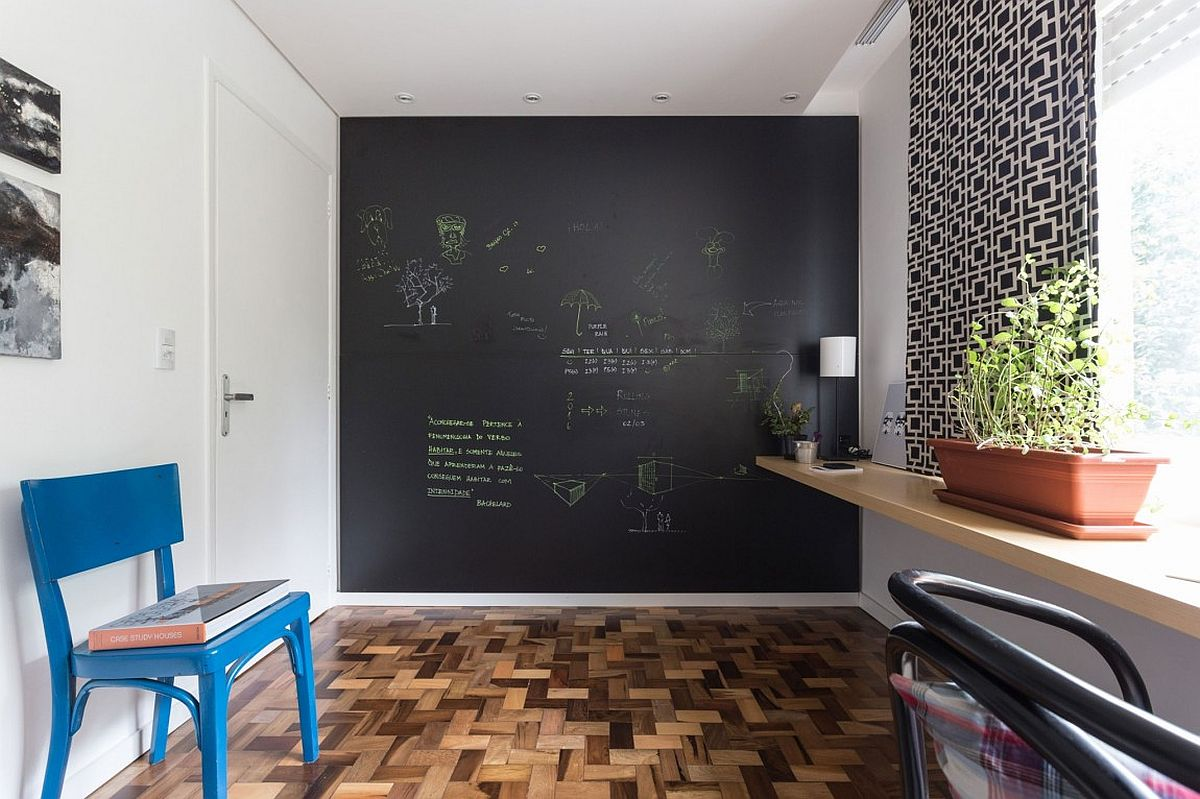 Chalkboard accent wall for the modern home office